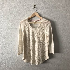 Anthropologie One September Cream Lace Top